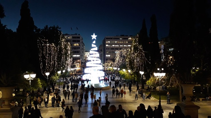christmas tree syntagma square athens greece